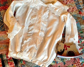 Antique Victorian Boy's Lacy Cotton Shirt from the 1890's-Vintage Child's Clothing