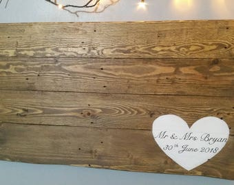 X-Large Wooden wedding guest book board personalised  free p&p