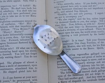 Nerdy by Nature Spoon Bookmark | Handstamped | Upcycled | Repurposed | Vintage Flatware
