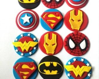 SUPERHERO fondant cupcake toppers 12 pcs edible superman spiderman batman iron man wonder woman capitan america
