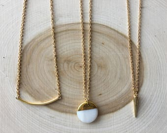 Simple Gold Accent Necklace, Bohemian Jewelry