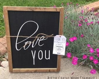 """Wall Decor l Love You l Wood Signs l Custom Signs l 8"""" x 12"""" l Home Decor l Wedding Gift"""