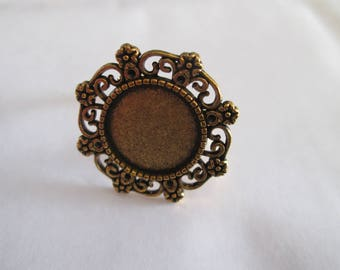 a gold plated 14 mm cabochon Adjustable ring finding