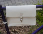 Bicycle Frame Satchel Bag Handcrafted Natural Leather WHITE 11.8x8.1x2.2