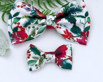 Baby Girl classic Bow Headband - Nylon Headbands - Hair clip - Infant / Toddler /  Fabric Hair Bows / Clips - Christmas floral