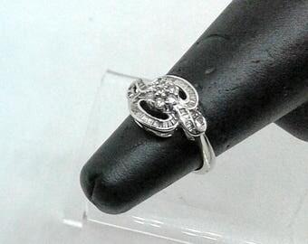 Ring white gold 750, 18 k with 7 diamonds, size 5, wedding/ring Promotion code white gold 18 k 750, diamonds, daisy, infinity