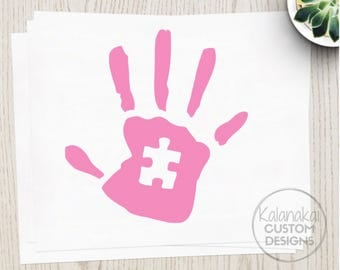 PINK AUTISM AWARENESS Handprint - Autism Decal - Autism Sticker - Autism Car Sticker - Handprint Sticker - Puzzle