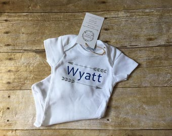 Personalized baby shirt, baby boy name shirt one piece, baby boy outfit, cute baby gift, unique baby gift, personalized baby gift, Wyatt top