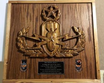 Master, EOD, Badge, Explosive Ordnance Disposal, 3D, Military Plaque, PCS, Retirement,  Man Cave