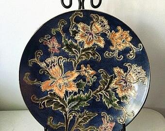Vintage Oriental Plate--- Vintage Asian Plate -----Asian Floral Plate ---Oriental Dish---Vintage Home Decor--Collectible Art Piece