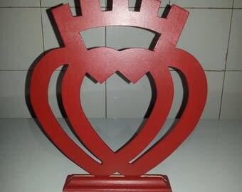 Vendeen heart, medium 3 mm, hand painted
