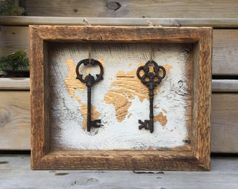 Large Shadow Box - Antique Key - Vintage Barn Wood - Farmhouse Style