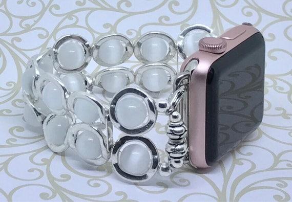 Apple Watch Band, Women Bead Bracelet Watch Band, iWatch Strap, Apple Watch 38mm, Apple Watch 42mm, White Cat's Eye, Silver Circles 6 3/4-7