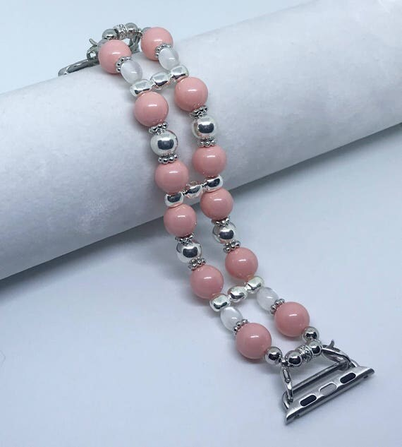 Apple Watch Band*, Women Bead Bracelet Watch Band, iWatch Strap, Apple Watch 38mm, 42mm, Swarovski Coral Pink Pearls Size 6 3/4""