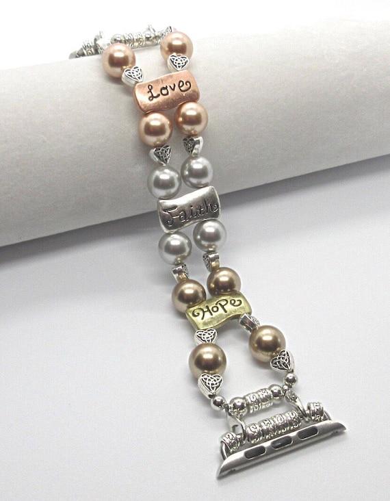 "Apple Watch Band, Women Bead Bracelet Watch Band, iWatch Strap, Apple Watch 38mm, 42mm, Hearts Love Faith Hope Swarovski Pearls Size 7"""