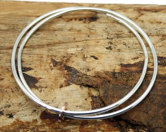 Sterling Silver Fallon Bangle with Red Gold Disc  (YB001)