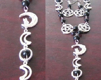 FREE Shipping - Pentacle with moon necklace and Earrings Set