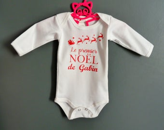 Bodysuit first Christmas - personalized Bodysuit - my first Christmas - name Bodysuit - Christmas baby.