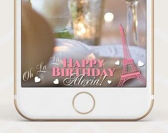 Paris birthday geofilter, Paris party snapchat geofilter, Birthday theme paris  birthday Snapchat geofilter, birthday snapchat geofilter B50
