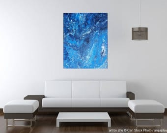 unique original painting <blue marble> acryl on canvas 50x40x2 abstract artwork fluid pouring cells metallic silver and blue <art by zhu>