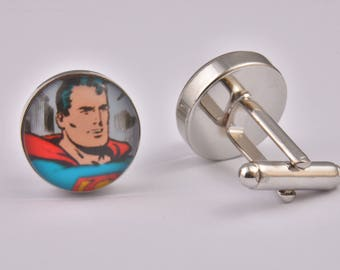 Comic Book Retro Superman Cufflinks Superhero Exclusive Cool Colourful Silver Wedding Prom Black Tie Gift Jewellery Accessories Men