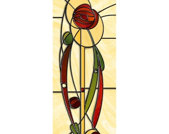 MACKINTOSH ROSE 1 - giclée print, wall art, stained glass style, fine art, artwork, picture, mackintosh, home decor, red, yellow, green