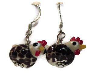speckled chicken earrings