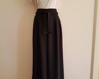 Vintage 1980's / Black / Size 10 / High Waisted / Wide Leg / Palazzo / Evening Pants