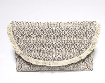 Swaraj Bag geometric pattern chain bag - LIGHT GRAY hand-woven jacquard clutch bag 2-WAY