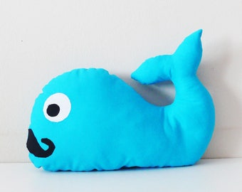 Cushion whale personalized blue moustache to the child's name