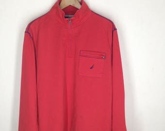 Vintage Nautica Spell Out Half Zip Pullover Sweater Mens L, Vintage Nautica Vintage Sweatshirt, 90s Nautica Red