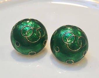 VINTAGE - green round clip earrings