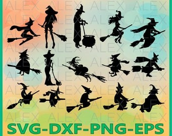70% OFF, Witch Svg, Halloween Witch png, eps, svg, dxf, Halloween Clipart, Halloween Svg Silhouettes, Silhouette Files, Cut Png File