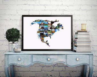 Custom Photo Collage Country Outline Map