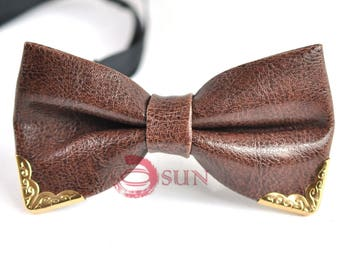 Mens PVC Faux Leather Coffee Golden Edge Shining Bow Tie Bowties Wedding Party