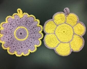 Pot Holder Set - Crochet Pot Holders - Flower Pot Holders - Flower Trivets - Housewarming Gift - Purple/Yellow Pot Holder - Shower Gift