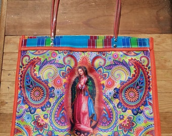 Market Bag, Eco Friendly, Virgen de Guadalupe, Mexican bag, Beach bag, Multi use bag, Gifts for her, Reusable bag, Recyclable bag