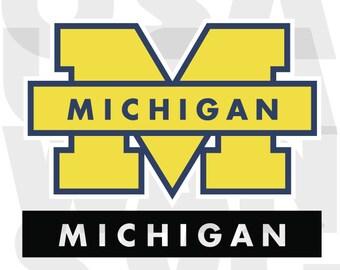Michigan Wolverines svg, Michigan Wolverines png, Michigan Wolverines university dxf logo basketball football ncaa college instant download