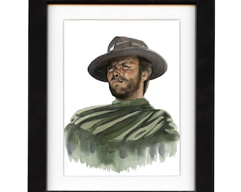 art, clint eastwood, art print, print, ranch, cowboy art, cowboy, gift, hat, western, decor, wall art, portrait, famous, saltwatercolors