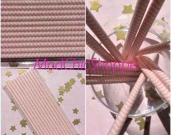Pink and White Chevron Paper Straws, set of 12. Great for baby showers or bridal showers!