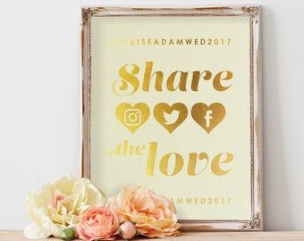 Share the love hashtag sign in gold or silver foil - Personalised
