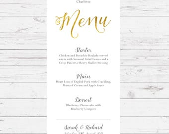 Gold Foil wedding breakfast menu - professionally designed and printed