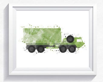 Oshkosh Hemtt military car print, military truck printable, military wall art, army truck print, truck printable, big boy room wall art