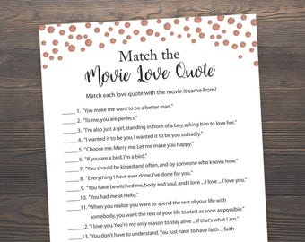 Rose Gold, Match the Movie Love Quote, Bridal Shower Games, Printable Bridal Shower, Movie Love Quotes Match, Wedding Shower Games, J012