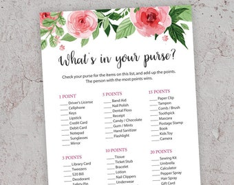 What's in your Purse, Printable Shower Game, Bridal Shower Games, Purse Hunt Game, Whats in your Bag, Purse Raid Game,Floral Bridal, J003