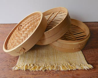 Bamboo stackable basket. Chinese wedding basket. Wood steamer case. Woven stacking basket. Dumpling steamer.