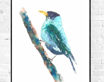 Original painting-Blue Bird blue bird painting-bird illustration-oiseau-colorful art-original painting-nature art-wallart