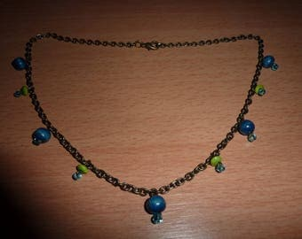 Ethnic Necklace blue and lime green