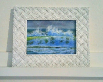 Small framed wave pastel painting
