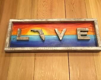 LIVE LOVE Florida pallet wood sign